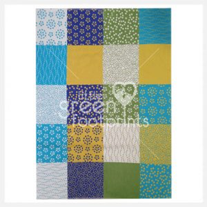David Fussenegger Organic Cotton Cot Blanket Blue Patchwork - Side 2