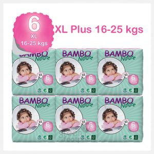 Bambo Nature - Size 6 - Eco Disposable Nappies - XL 16-25kgs - Bulk Buy (132 nappies)