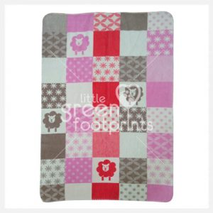 David Fusseneger - Pink Patch Sheep - Maja Cot Blanket - Side 1