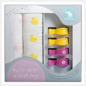 All4Ella 2 Pack Muslin Wraps & 4 Pram Pegs - Pink Hand & Duck.jpg