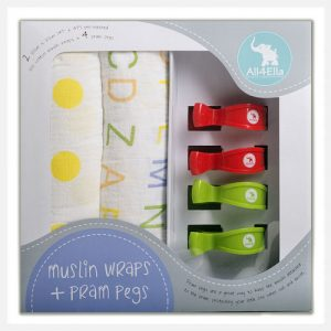 All4Ella 2 Pack Muslin Wraps & 4 Pram Pegs - Yellow Spot & Alphabet with Red & Green Pegs