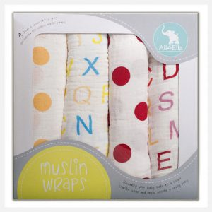 All4Ella 4 Pack Muslin Wraps - Spots & Alphabet