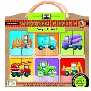 GREEN START WOODEN PUZZLE - TOUGH TRUCKS