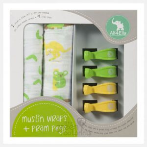 All4Ella 2 Pack Muslin Wrap & 4 Pram Pegs - Aussie Animals Green