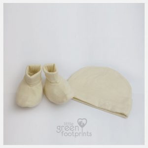 Merino Kids Bootie and Hat Set Cream